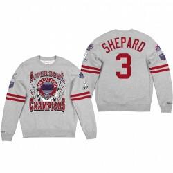 Giants 3 Sterling Shepard Super Bowl Champions Sweat-shirt - Gris