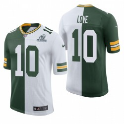 Jordan Love Green Bay Packers NFL Playoffs Split Classic Limited Maillot - Green Blanc