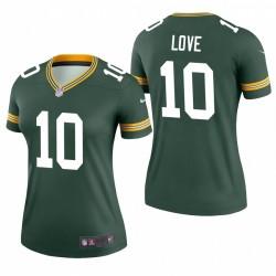 Femmes Jordan Love 10 Green Bay Packers Green Maillot NFL Draft