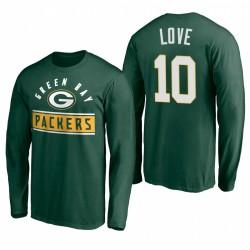 Green Bay Packers 10 Jordan Love Green Arc Knockout T-shirt à manches longues à manches longues