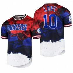 Packers Jordan Love 2021 Day de l'Indépendance T-shirt Americana Dip-Dye - Navy Rouge