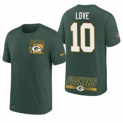 Packers Jordan Love 10 T-shirt de performance de Playbook d'installation verte