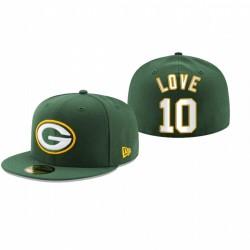 Green Bay Emballeurs Jordan Love Logo Primaire Chapeau ajusté - Vert