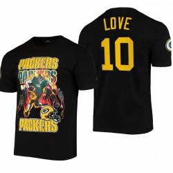 Green Bay Packers Jordan Love Team Logo Squelette T-shirt - Noir