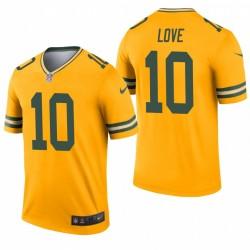 Green Bay Packers 10 Jordan Love Gold légende inversé Maillot