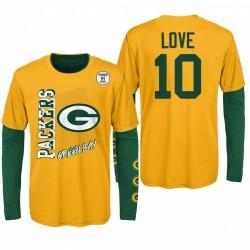 Jeunesse Green Bay Packers Jordan Love Gold Green Team Logo Logo Ensemble Combo T-shirt