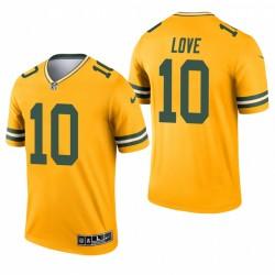 Green Bay Packers 10 Jordanie Love Gold 2021 Inverté légende Maillot