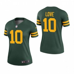 Femmes Jordan Love 10 Green Bay Packers Vert Légende Légende Maillot