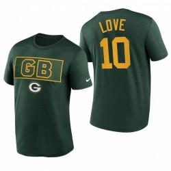 Green Bay Packers Jordan Love Shirt Logo T-shirt - Vert