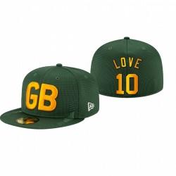 Green Bay Packers Jordan Love 2021 NFL Sideline 59fifty ajusté Happel - Vert