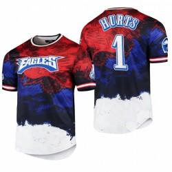 Eagles Jalen Hurts 2021 Day Indépendance T-shirt Americana Dip-Dye - Navy Rouge