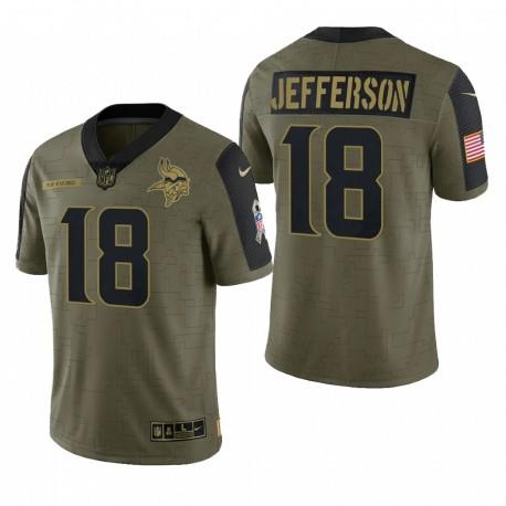 Minnesota Vikings Justin Jefferson Olive 2021 Salut à Service Limited Maillot