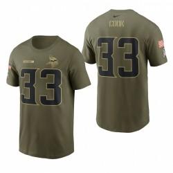 Vikings 33 Dalvin Cook 2021 Salut au service Nom Nom T-shirt - Camo