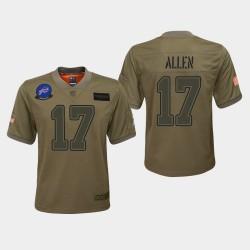 Jeunes Buffalo Bills 17 Josh Allen 2019 Salut au service du jeu Jersey - Camo