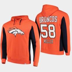 Fanatiques de marque Hommes Denver Broncos 58 Von Miller équipe Iconic Sweat à capuche - orange