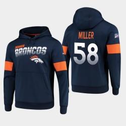 Denver Broncos hommes 58 Von Miller 100e saison Sideline équipe Logo Sweat à capuche - Marine