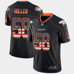 Denver Broncos hommes Von Miller 58 Black Flag Etats-Unis Mode couleur Rush Limited Jersey