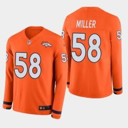 Denver Broncos hommes 58 Von Miller Therma jersey à manches longues - orange