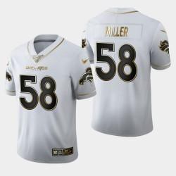 100 Saison Golden Edition Jersey Hommes Denver Broncos 58 Von Miller - Blanc