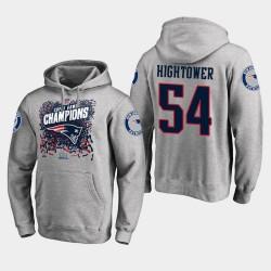 Hommes New England Patriots 54 Dont'a Hightower Super Bowl LIII Champions Trophy Sweat à capuche - Gris chiné