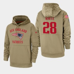 James White Men New England Patriots 2019 Salut au service Sideline Therma Sweat à capuche - Tan