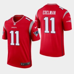 New England Patriots Men 11 Julian Edelman Inverted Legend Jersey - Rouge