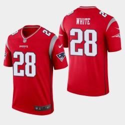New England Patriots 28 Inverted James White Legend Jersey Hommes - Rouge