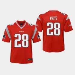 Jeunesse New England Patriots 28 James White 2019 Inversé Jeu Jersey - Rouge