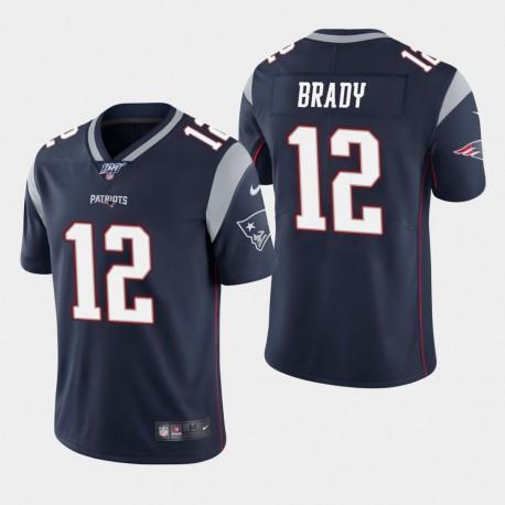 New England Patriots Tom Brady Hommes 12 100ème saison de vapeur Limited Jersey - Marine