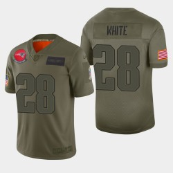 New England Patriots Men 28 James White 2019 Salut au service Camo Jersey limitée