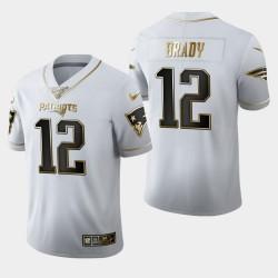New England Patriots Tom Brady Hommes 12 100 Saison Golden Edition Maillot - Blanc