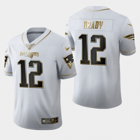 New England Patriots Tom Brady Hommes 12 100 Saison Golden Edition Jersey - Blanc
