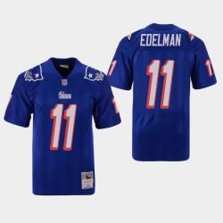 New England Patriots Men 11 Julian Edelman Throwback Replica Jersey - Bleu