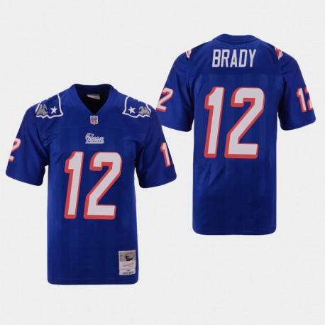 New England Patriots Tom Brady Hommes 12 Throwback Replica Jersey - Bleu