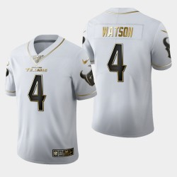 Houston Texans 4 hommes Deshaun Watson 100e Saison Golden Edition Jersey - Blanc