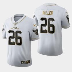 Houston Texans Hommes 26 Lamar Miller Saison 100 Golden Edition Jersey - Blanc
