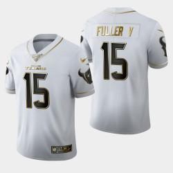 Hommes Houston Texans 15 Will Fuller V 100 Saison Golden Edition Jersey - Blanc