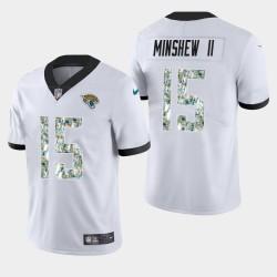 Jacksonville Jaguars 15 Gardner Minshew II Men Salut au service pratique maillot blanc