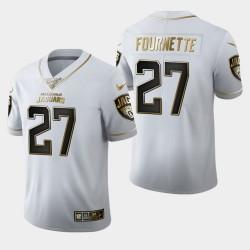Hommes Jacksonville Jaguars 27 Leonard Fournette 100 Saison Golden Edition Jersey - Blanc