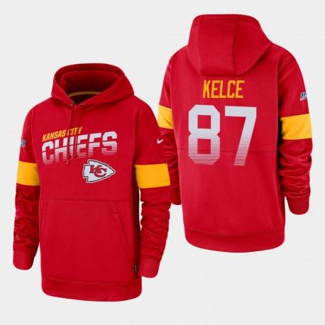 Kansas City Chiefs Hommes 87 Travis Kelce 100e saison Sideline équipe Logo Sweat à capuche - Rouge