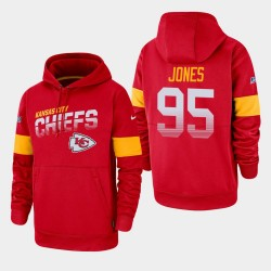 Kansas City Chiefs Hommes 95 Chris Jones 100e saison Sideline équipe Logo Sweat à capuche - Rouge