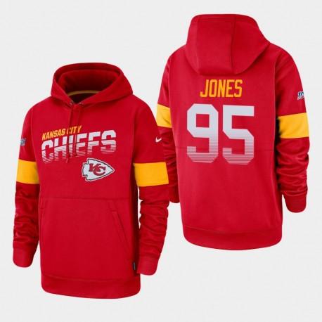 Kansas City Chiefs Hommes 95 Chris Jones 100e saison Sideline équipe Logo Sweat à capuche - Rouge