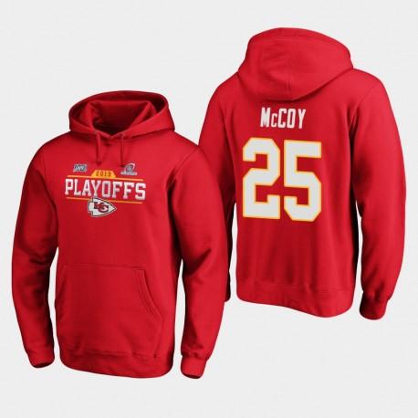 Chefs Hommes Kansas City LeSean McCoy 2019 NFL Playoffs Bound Chip Tir Sweat à capuche - Rouge