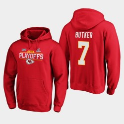 Chefs Hommes Kansas City Harrison Butker 2019 NFL Playoffs Bound Chip Tir Sweat à capuche - Rouge