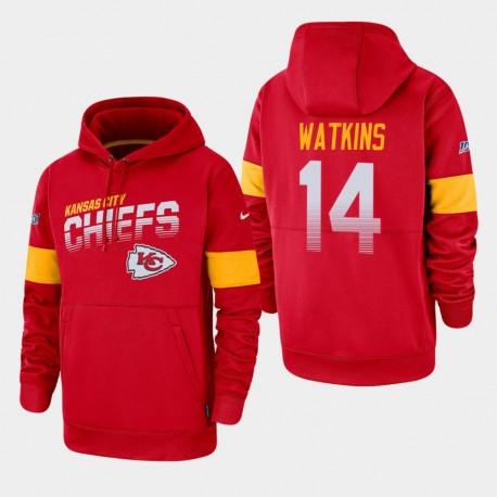 Kansas City Chiefs Hommes 14 Sammy Watkins 100ème saison Sideline équipe Logo Sweat à capuche - Rouge