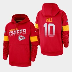 Kansas City Chiefs Hommes 10 Tyreek Hill 100e saison Sideline équipe Logo Sweat à capuche - Rouge