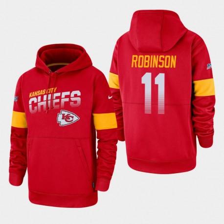 Kansas City Chiefs Hommes 11 DeMarcus Robinson 100e saison Sideline équipe Logo Sweat à capuche - Rouge