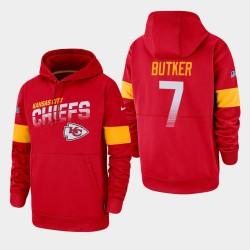 Kansas City Chiefs Hommes 7 Harrison Butker 100e saison Sideline équipe Logo Sweat à capuche - Rouge