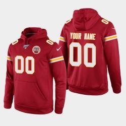 Ville Hommes Kansas Chiefs 00 Personnalisé 100ème saison Jeu Hoodie - Rouge