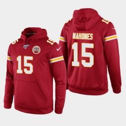 Kansas City Chiefs Hommes 15 Patrick Mahomes 100e saison Jeu Hoodie - Rouge